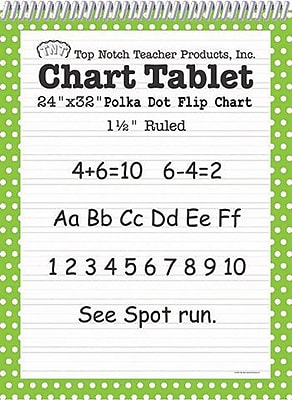 Top Notch Teacher Products® Polka Dots Chart Tablet, Green, 32