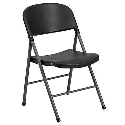 Flash Furniture HERCULES Series 330 lb. Capacity Plastic Folding Chair with Charcoal Frame, Black, 40/Pack