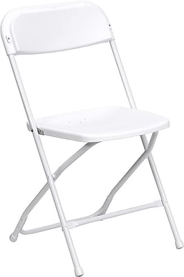 Flash Furniture HERCULES Series 800 lb. Capacity Premium Plastic Folding Chair, White, 20/Pack 696147