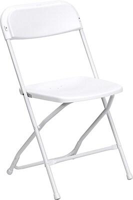 Flash Furniture HERCULES Series 800 lb. Capacity Premium Plastic Folding Chair, White, 20/Pack