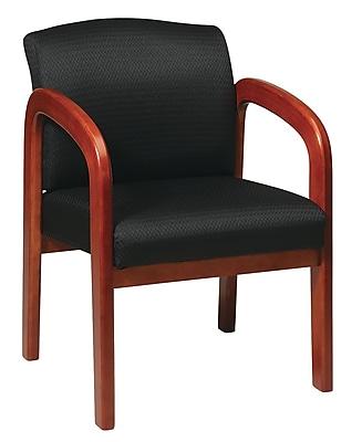 Office Star Wood Guest Chair, Medium Oak Finish Wood with Black Fabric