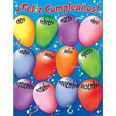Teacher Created Resources TCR7691 Happy Birthday Spanish Chart, Assorted