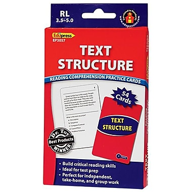 Edupress® Reading Comprehension Practice Card, Text Structure, Reading Level 3.0 - 5.0