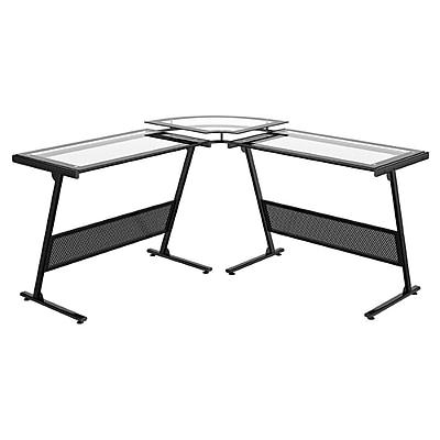 Z-Line Designs ZL1429-1DU Delano Glass Computer Desk, Clear/Black
