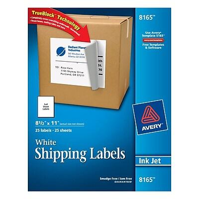 Avery® 8165 White Inkjet Full Sheet Shipping Labels with TrueBlock™, 8-1/2