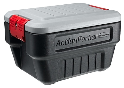 ActionPacker® Black Cargo Storage Box With Gray Lid, 8 gal, 19.9 in (L) x 14.1 in (W) x 12.1 in (H)