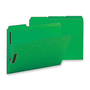 Staples Colored Reinforced Tab Fastener Folders, Letter, Green, 50/Box