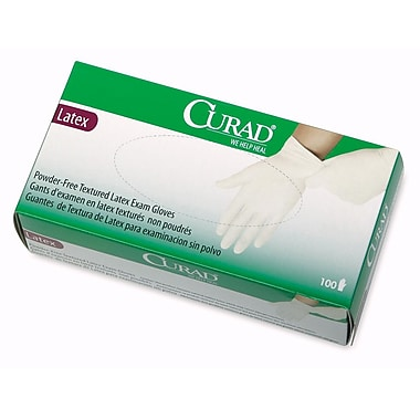 Curad CUR8107 Extra Large Powder-Free Latex Exam Gloves 100/Box, Green