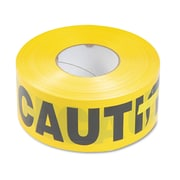 """Tatco Caution Barricade Safety Tape, Yellow, 3"""" x 1,000 ft. Roll"""