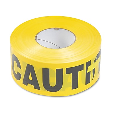 Tatco Caution Barricade Safety Tape, Yellow, 3
