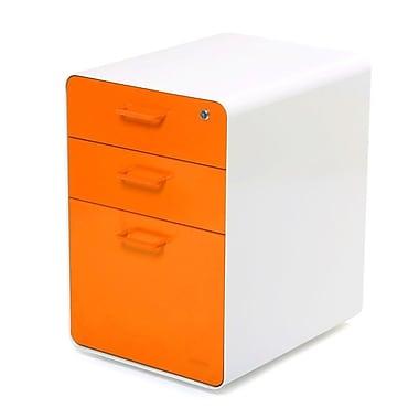 Poppin, Stow File Cabinet, 3-Drawer, White + Orange (100431)