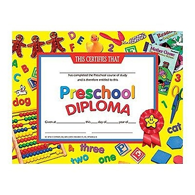 Hayes® Yellow Border pre-school Diploma Certificate, 8 1/2