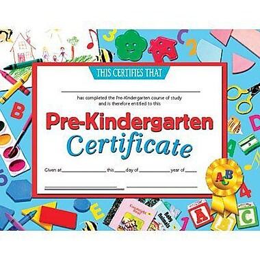 Hayes® Pre-kindergarten Certificate, Blue Border, 8-1/2