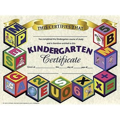 Hayes® White Border Kindergarten Certificate, 8 1/2