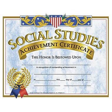 Hayes® Yellow Border Social Studies Achievement Certificate, 8 1/2