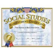 "Hayes® Yellow Border Social Studies Achievement Certificate, 8 1/2""(L) x 11""(W),30/Pack"