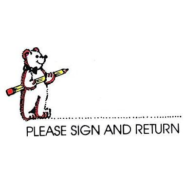 Center Enterprises Sweet-Arts Artistic Rubber Stamp, Please Sign Bear (CE-E618)