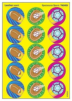 Trend® Stinky Stickers®, Large Round, Spectacular Sports Scenter Leather