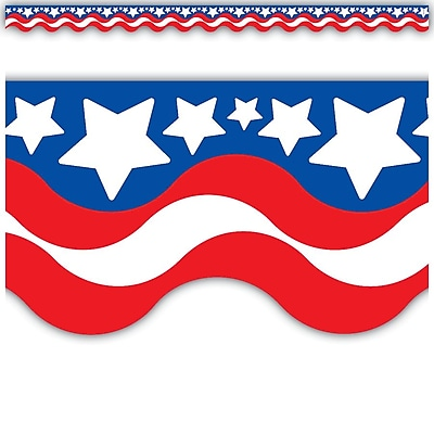 Teacher Created Resources® Scalloped Bulletin Board Border Trim, Patriotic, Infant - 12th Grade (TCR4158)
