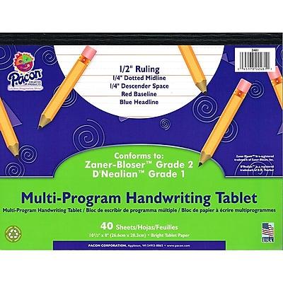 Pacon® Zaner-Bloser™ D'Nealian™ Multi-Program Handwriting Tablet Paper, Grades 1st-2nd, 10-1/2