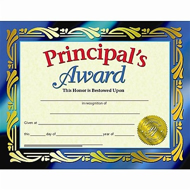 Hayes® Principals Award Certificate, 8 1/2