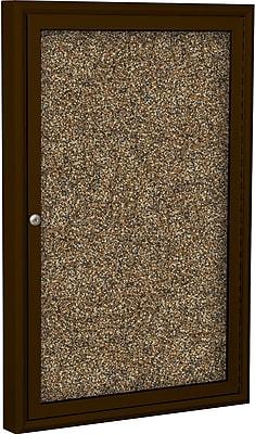 Best-Rite Enclosed Rubber Tak Bulletin Board, Coffee Finish Frame, 3' x 2'