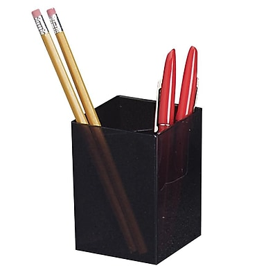 Officemate® Pencil Cup, 3 Compartments, Black, 4