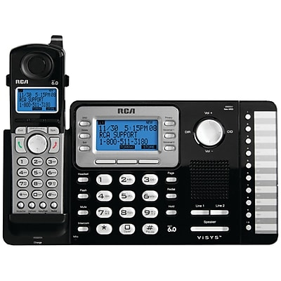 RCA DECT 6.0 2-Line Cordless Expandable Phone, With Digital Answering System