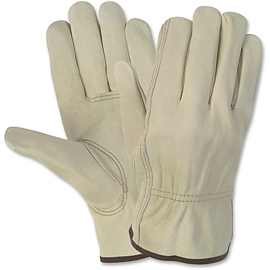 Crews® Economy Leather Driver Gloves, Large, Cream