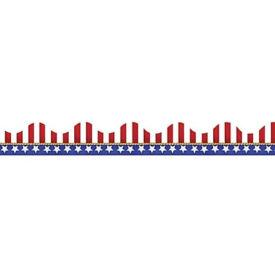 Eureka® Scalloped Deco Trim, American Flags Electoral, Pre-school - 12th Grade (EU-845031)
