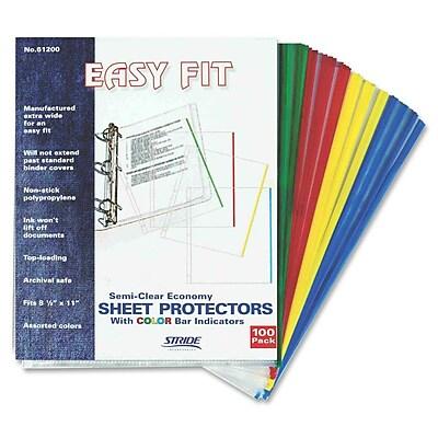 Stride® Easy Fit Color Bar Sheet Protectors, 8-1/2x11