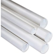 "3"" x 26"" - Staples White Mailing Tubes with Cap, 24/Case"