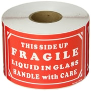 "Labels, ""Fragile - Liquid in Glass - HWC"", 3"" x 5"", Red/White, 500/Roll"