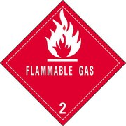 """Flammable Gas - 2"""" Shipping Label, 4"""" x 4"""", 500/Roll"""