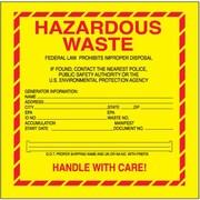 "Tape Logic Hazardous Waste - Standard Shipping Label, 6"" x 6"", 500/Roll"