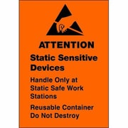 "Tape Logic® Labels, ""Static Sensitive Devices"", 1 3/4"" x 2 1/2"", Black/Orange, 500/Roll"