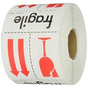 "Labels, ""Fragile"", 3"" x 4"", Red/White/Black, 500/Roll (IPM319)"