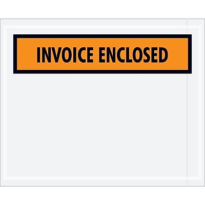 "Staples Packing List Envelope, 4 1/2"" x 5 1/2"" Orange Panel Face ""Invoice Enclosed"", 1000/Case"