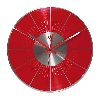 Infinity Instruments 14079RD Spangler Metal Analog Wall Clock, Red