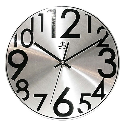 Infinity Instruments Silver Brushed Aluminum Modern Wall Clock