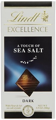 Lindt Excellence Chocolate Bars, A Touch of Sea Salt Dark Chocolate, 3.5 oz., 12 Bars/Box