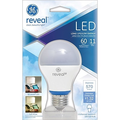 GE Reveal A19 LED Dimmable Light Bulb, 11 Watt
