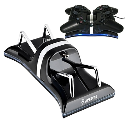 Insten® Dual Charge Station With Stand For PS3 Controller; Black