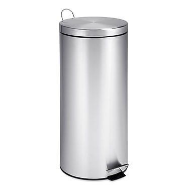 Honey Can Do 7.9 gal. Stainless Steel Round Step Trash Can, Silver