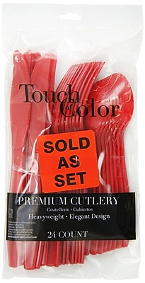 Creative Converting Classic Red Assorted Cutlery, 24/Pack