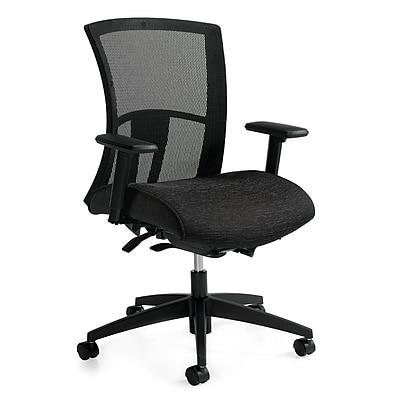 Global Vion Fabric Mesh High Back Ergonomic Chair, Black, Adjustable Arms (6321-8-UR22)