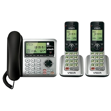 VTech 2 DECT CS6649-2 up to 5 Handsets Expandable Corded/Cordless Phone with Answering System, Silver and Black