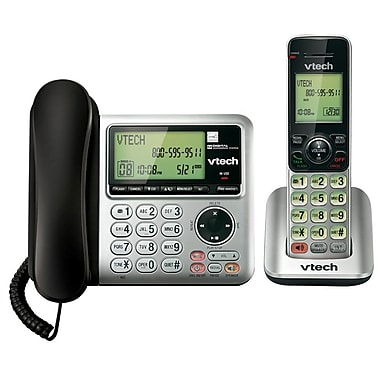 VTech CS6649 DECT 6.0 Expandable Corded/Cordless Phone with Answering System and Caller ID/Call Waiting, Silver/Black