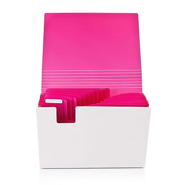 Poppin 13-Pocket Expanding File, Letter Size, Pink