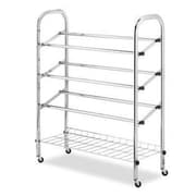 Whitmor 12 Pairs Capacity Rolling Shoe Rack, Chrome